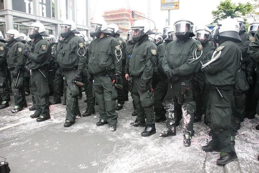 Polizeiaufgebot in Frankfurt